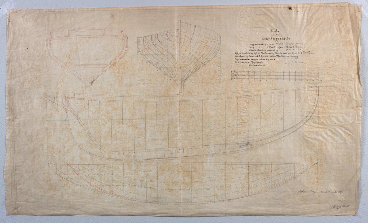 Byggetegning til en Redningsskøite, signert O. J. Hilmar på tynn lerretsduk.