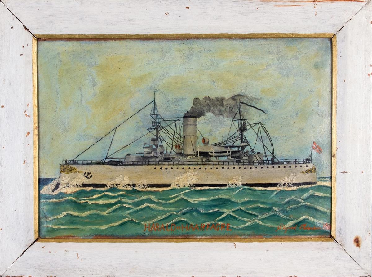 Skipsportrett av panserskip HARALD HAARFAGRE under fart malt av en 14 år gammel gutt.