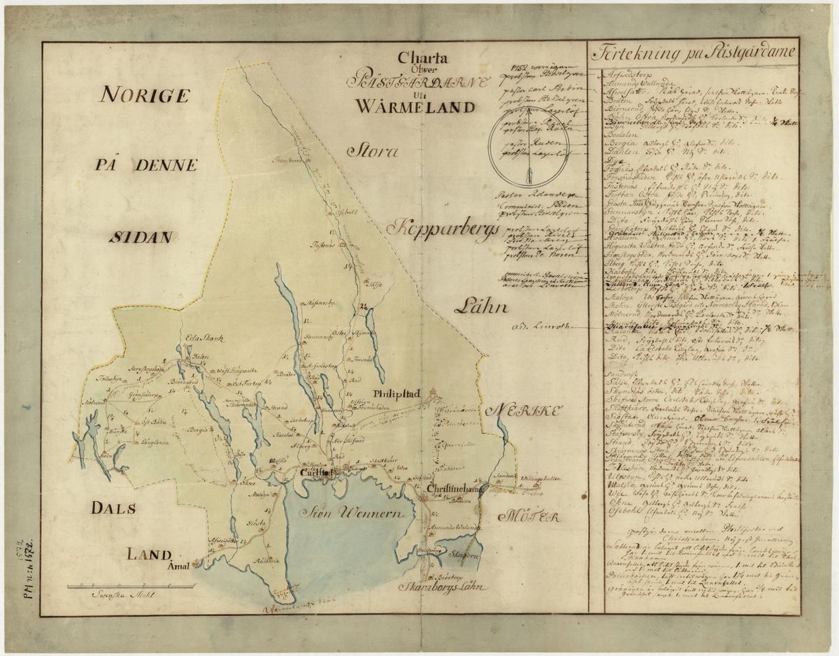 Postkarta över postgårdarna i Värmland under 1700-talets mitt. Kartan visar endast Värmland, de angränsande länen namnges endast vid sidan om. En förteckning över postgårdar finns i nedre högra hörnet. Kartan är ritad och kolorerad för hand. På kartan finns anteckningar om postföring.