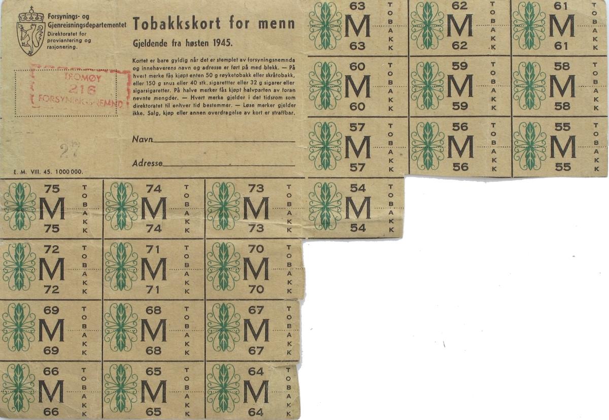 Tobakkskort for menn, gjeldende fra høsten 1945. 14 stk merker av 36 er klipt av.