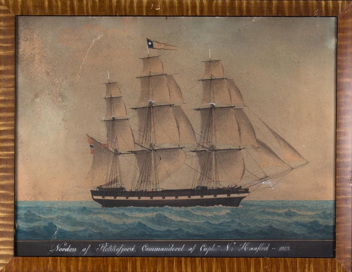 Skipsportrett av fullrigger NORDEN med full seilføring på åpent hav. Skipet har malte kanonporter og fører vimpel med stjerne på sort felt på stormasten.