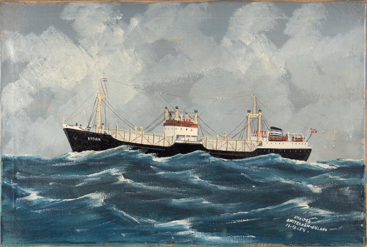 Skipsportrett av MS APPIAN under fart i åpen sjø. Fører nederlandske flagg i formasten.