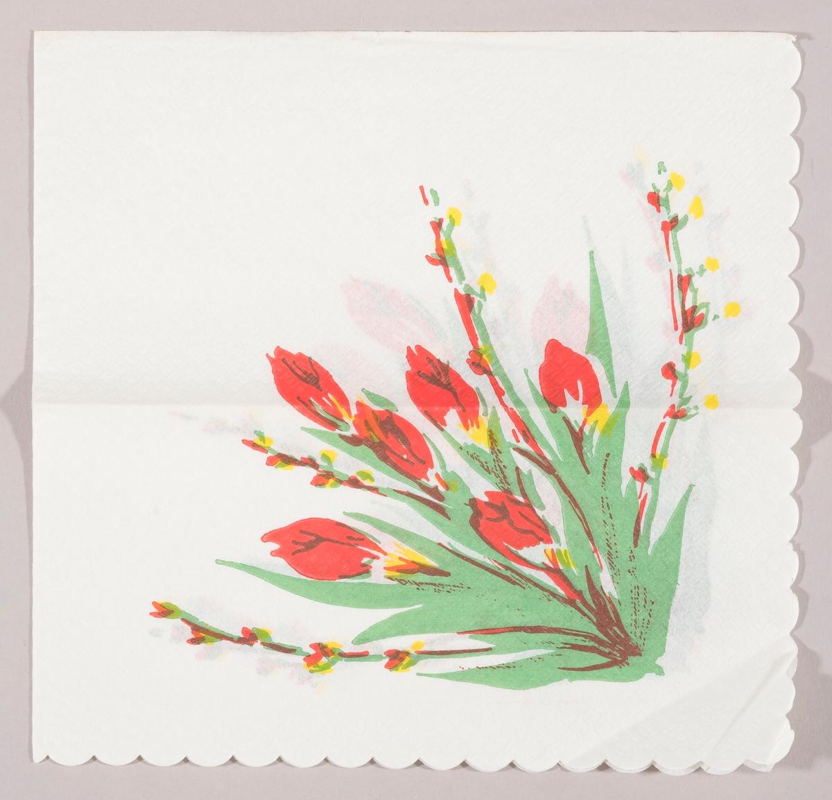 """En bukett med røde tulipaner og grener med """"gåsunger"""""""