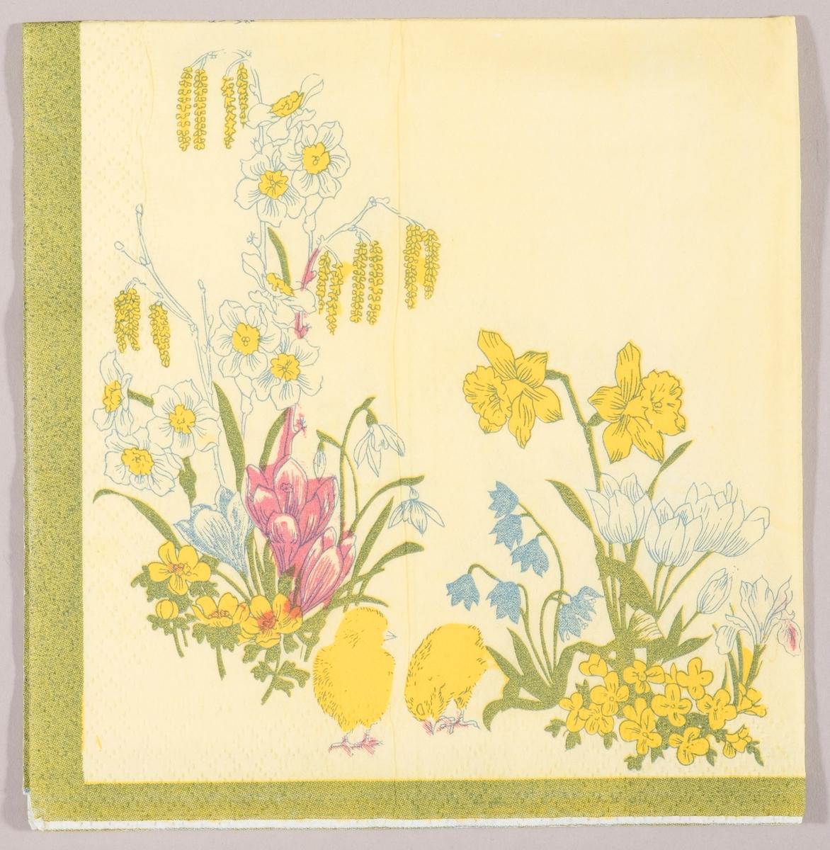 To kyllinger står mellom forskjellige vårblomster som påskeliljer, krokus, snøklokker og tulipaner. Grønn kantstripe.