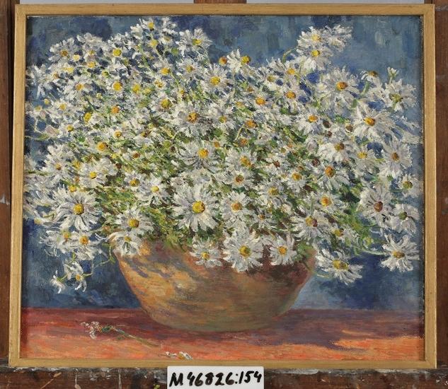 Oljemålning på duk. Blommor (prästkragar) i skål.
