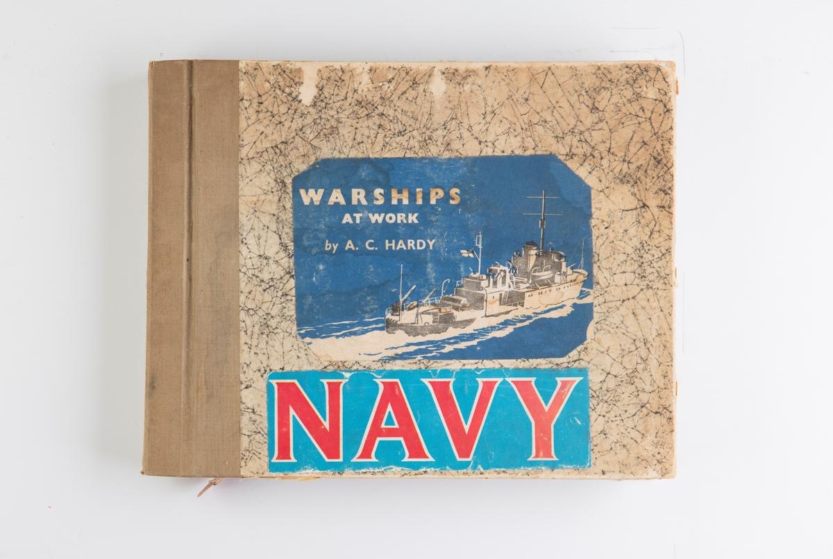 """Utklippsbok med illustrasjoner av krigsskip. Inneholder også illustrasjoner til """"The Sailor's Farewell"""", sjømannsklær ca. 1790"""
