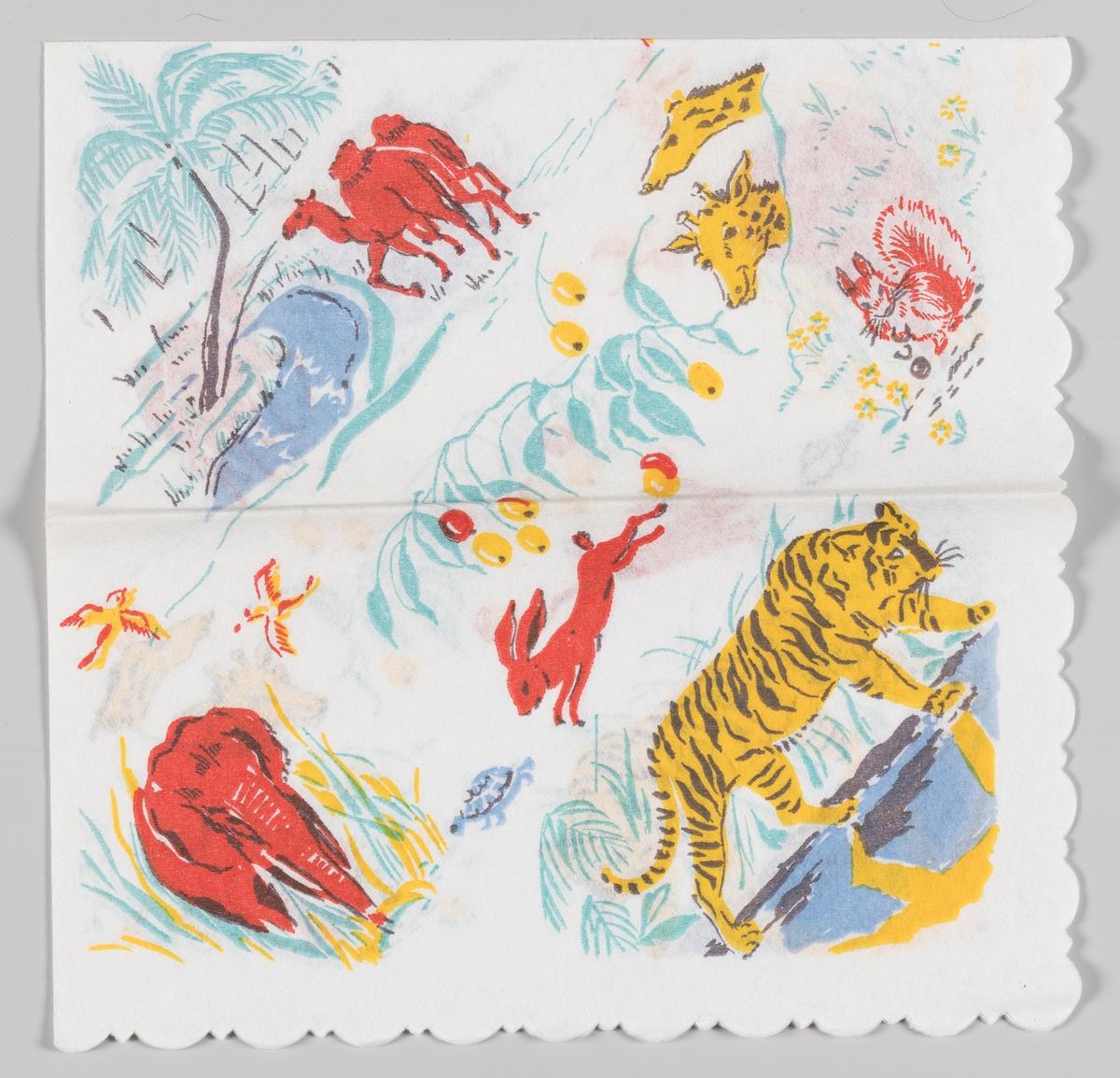 Landskaper med forskjellige dyr: En kamel, en elefant, to giraffer, en hare, et ekorn og en tiger.