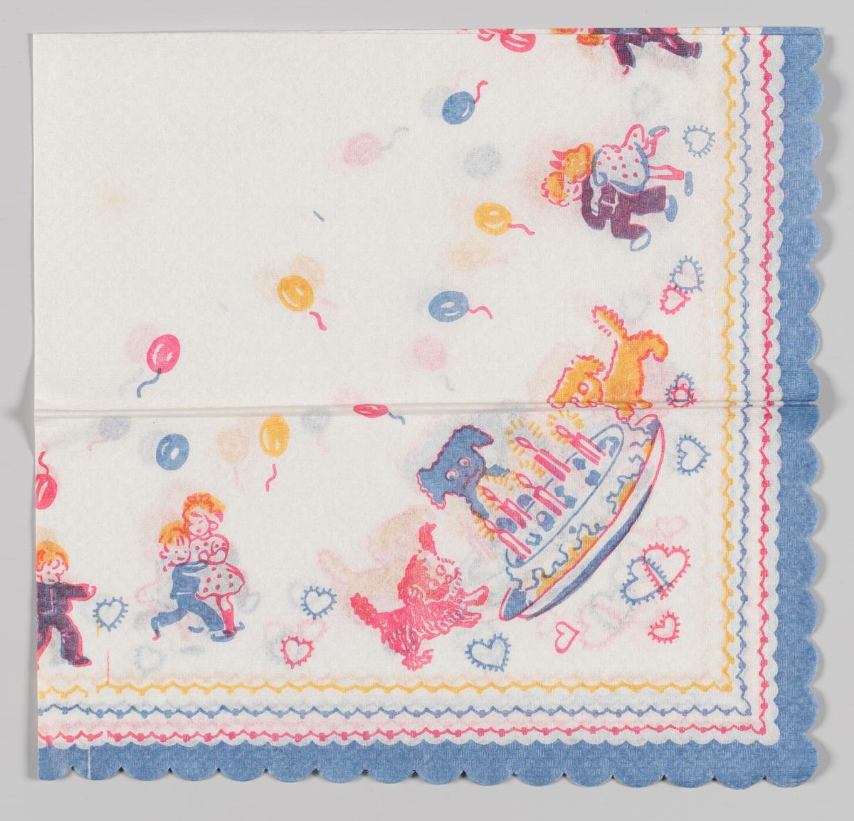 Et bursdagselskap med bløttkake med lys, tre hunder og barn som danser blant masse ballonger og hjerter. Gul, rød, blå bølget kant.