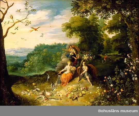 """Jan Breugel d ä. Född i Flandern 1568, död 1625. De fyra årstiderna. 49 x 64,5. Olja på kopparplåt.  RAMNING Profilerad brunbonad valnötsram på stomme av furuträ. Kopparplåt, med träpannå med rektangulärt titthål som sitter som ytterligare skydd på baksidan.  Genom revor i det papper som sitter limmat på plåten skymtar en grågrön beläggning på metallen. Rester av pappersklisterremsa runt pannåns ytterkanter.  UPPGIFTER PÅ BAKSIDAN På plåten fastlimmat papper handskriven svart text med tusch:  """"The seasons  by Brughell & Rottenheimer (understruket) size 2 feet by 1 foot 7 inches J. R Scott collection HK (?) bought of J Wats (on ?) 1877"""" Blå kritanteckning: """"609 aZ""""  Fastlimmat papper på bakpannån med handskriven tuschtext:  """"The seasons Brughel & Rottenheimer"""". På denna ett fastlimmat runt papper med siffran """"77"""".  BREUGHEL Jean dit de Velours BRUEGEL Jan I  Övrig historik se JJ01"""