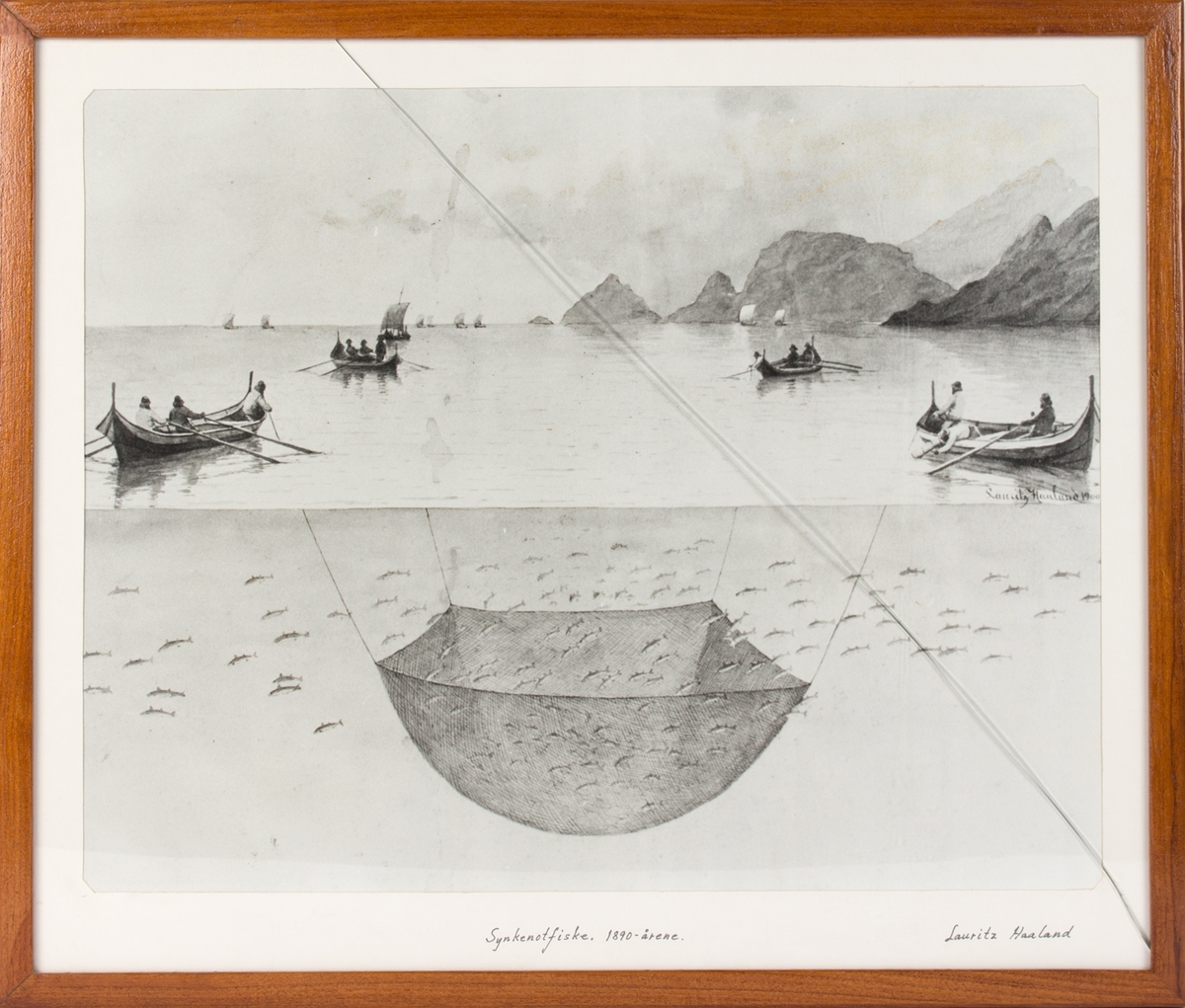 """Kopi av tegning av """"Synkenotfiske,1890 årene"""". Ser flere småbåter som setter ut en synkenot langs norskekysten."""