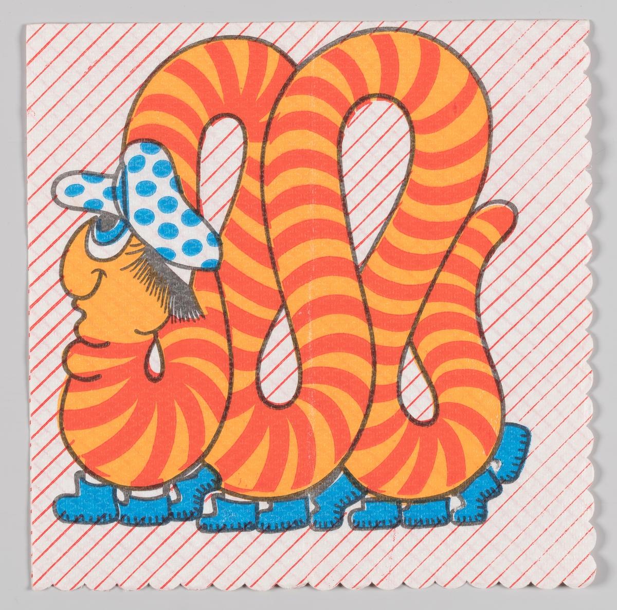 Et stripet tusenbein med sko på føttene og lue med blå prikker bukter seg fremover.