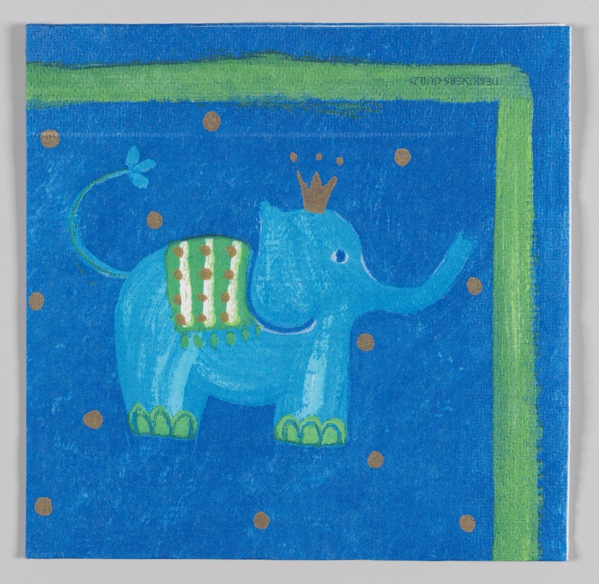 En lyseblå elefant med gullkrone på en blå bakgrunn med gullprikker.  Samme motiv som på serviett MIA.00007-003-0136