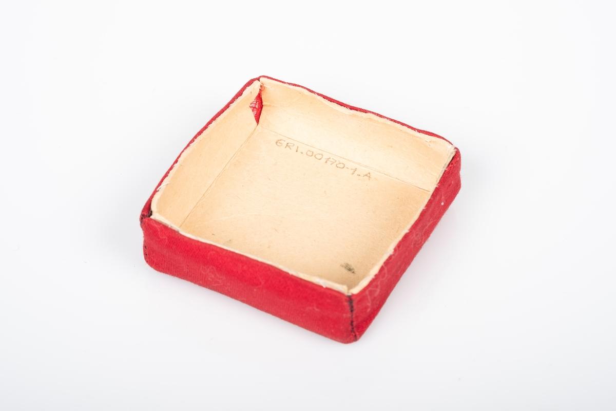 Lokk til eske av papp. Lokket er trukket over med tekstil (bomull) i rødt og rutete mønster, på utsiden. Påskrift på lokket.