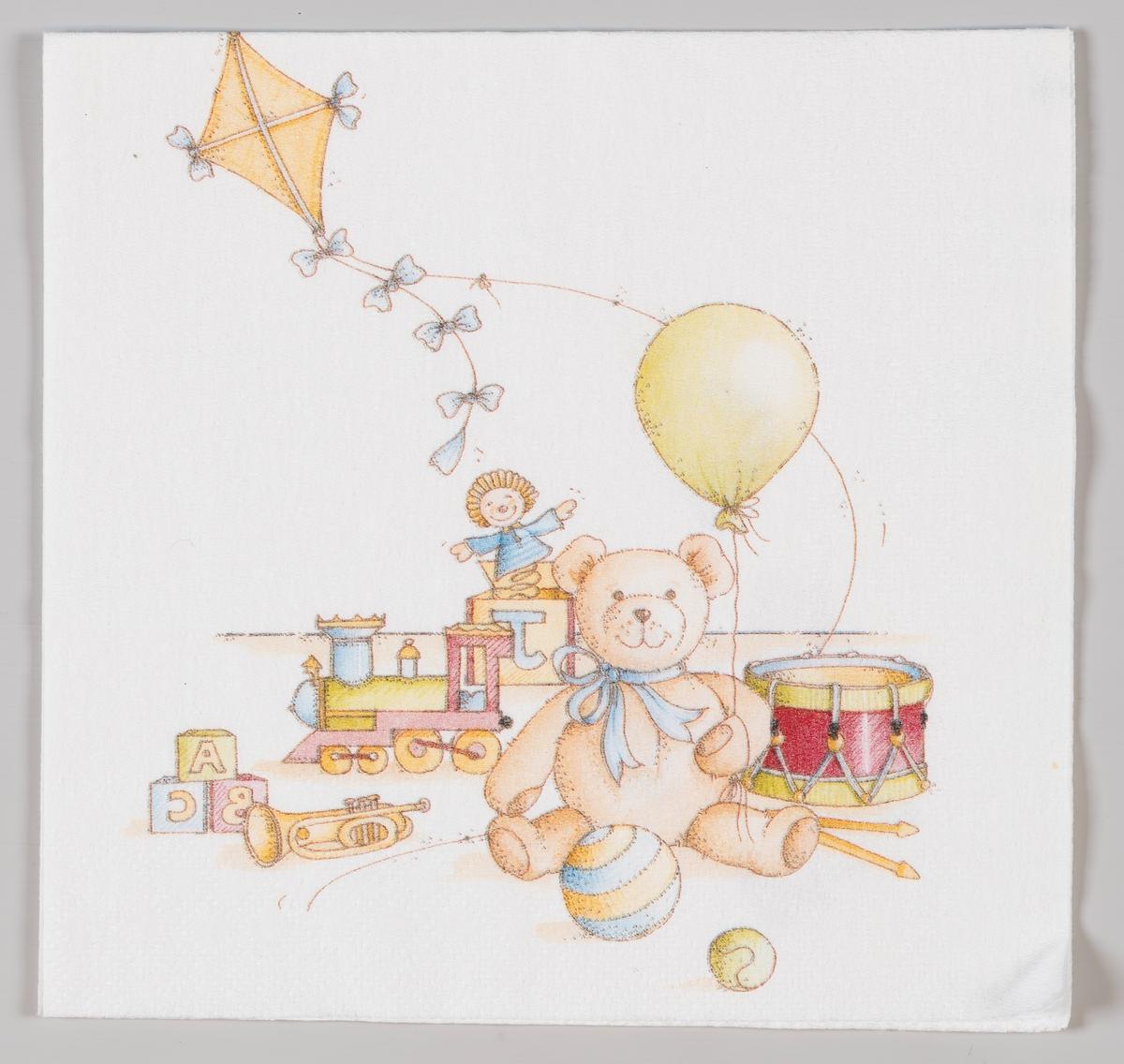 En teddybjørn sitter med en ballong mellom mange forskjellige leker.