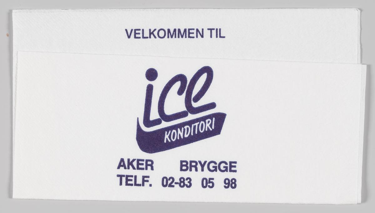 Reklametekst for Ice konditori på Aker brygge.  Samme tekst på serviett MIA.00007-004-0043.