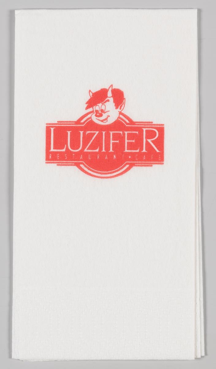 En liten djevel med horn i pannen og et skilt med reklametekst for Luzifer Restaurant og Cafe.  Luzifer er en tysk restaurantkjede som finnes på 7 lokasjoner i Nordtyskland.