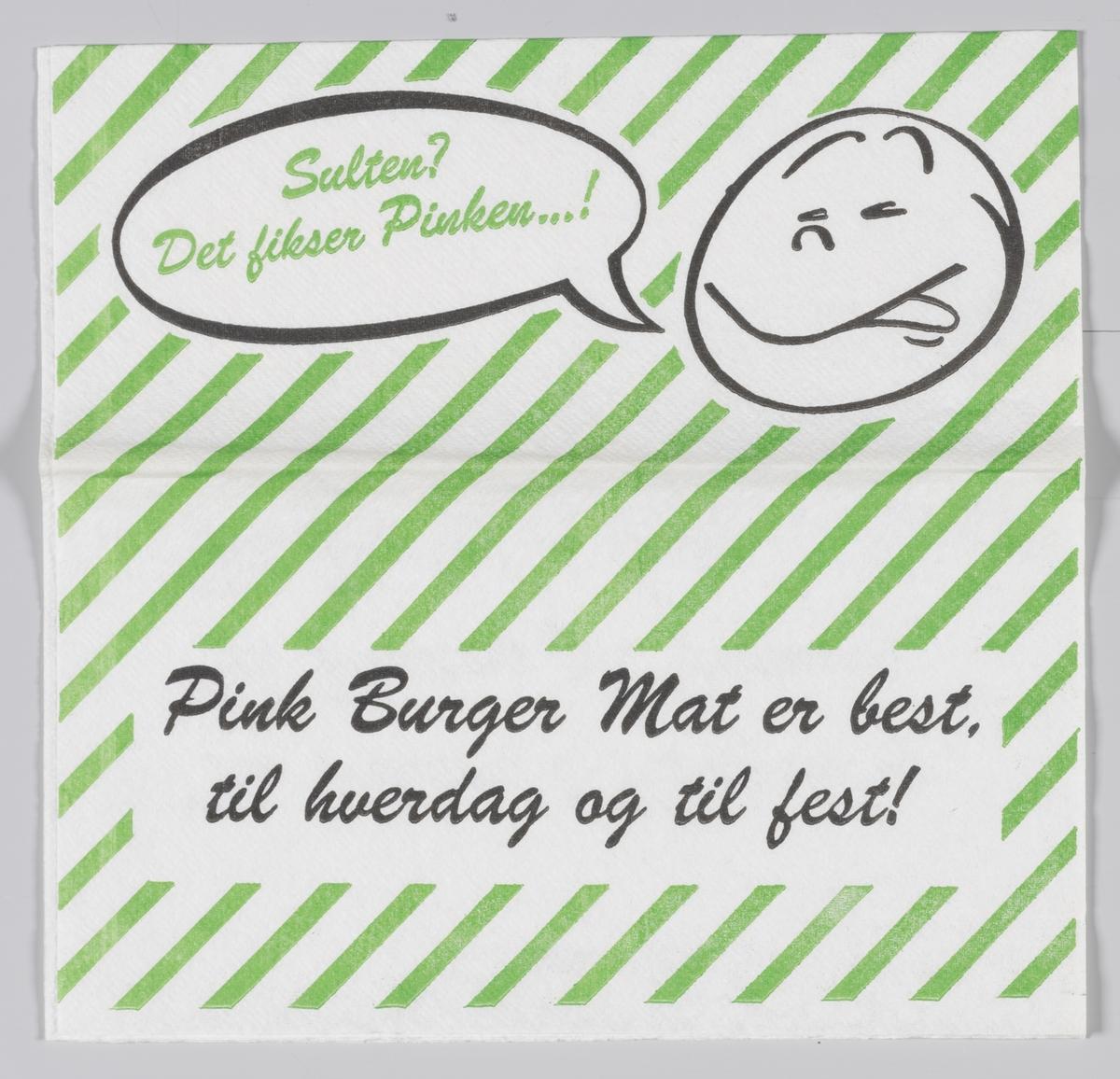 Ett runt ansikt med en taleboble med reklametekst for Pink Burger på Kongsberg.