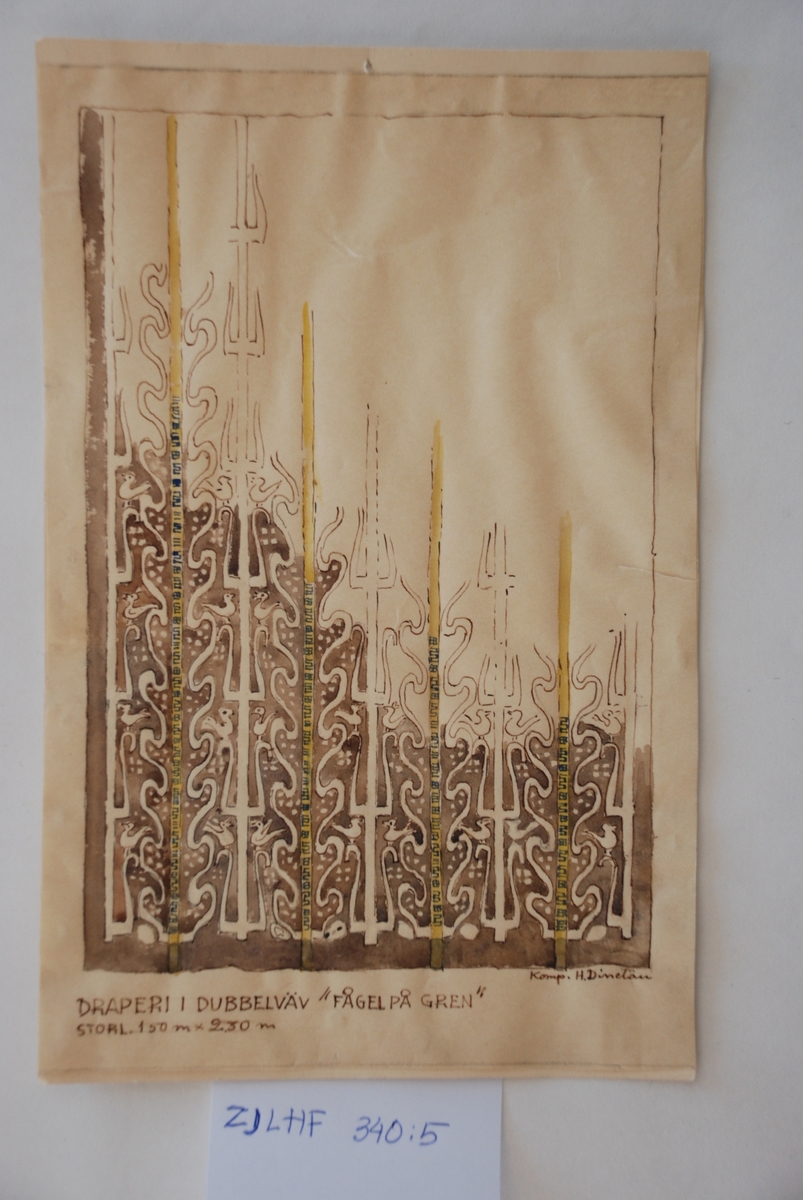 Skiss till finnväv komponerad av Hildegard Dinclau.