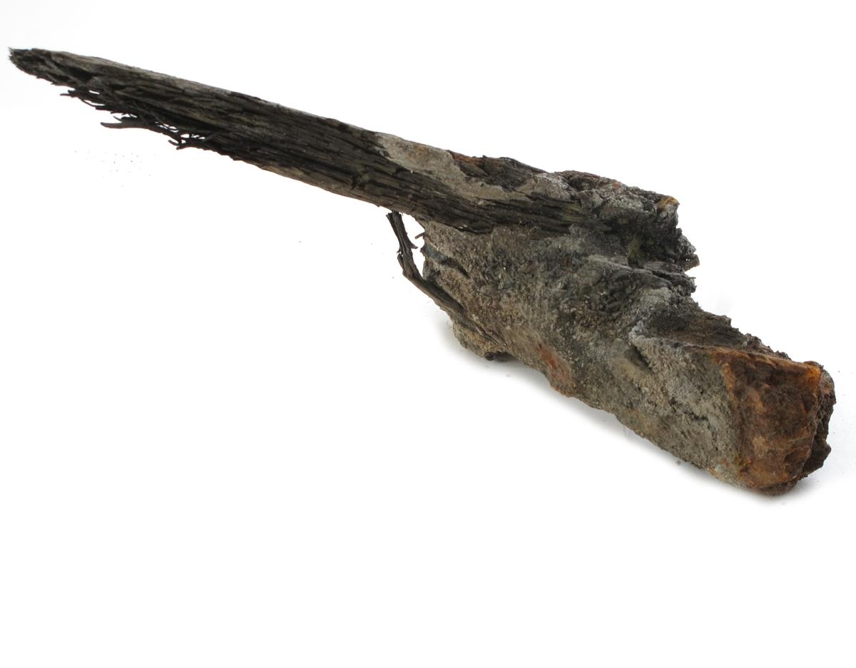 Korrosjonklump i)  Et stykke tre (trolig eik), med korrosjonsklump sammensatt av rust og sand.