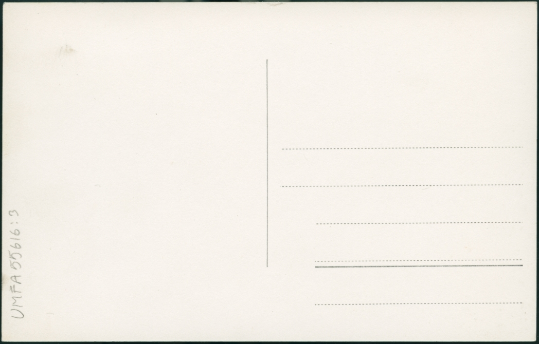 """Vykort med flygfoto över Röd, Hönö.  Fotografiet är taget över ett villaområde med sex hus och deras trädgårdar. Utanför tre av husen står flaggstänger varav en har hissad flagga. Samtliga tomter är omgärade av staket eller häckar. Diagonalt över bilden går en elledning. I bildens vänstra övre hörn syns ett parti med bergsknallar.  Längst ner till höger står med vit text:  """"9330/45 Foto och ensamrätt Aerofoto, Vetlanda.  Granskad och godkänd av Försvarsstaben."""""""