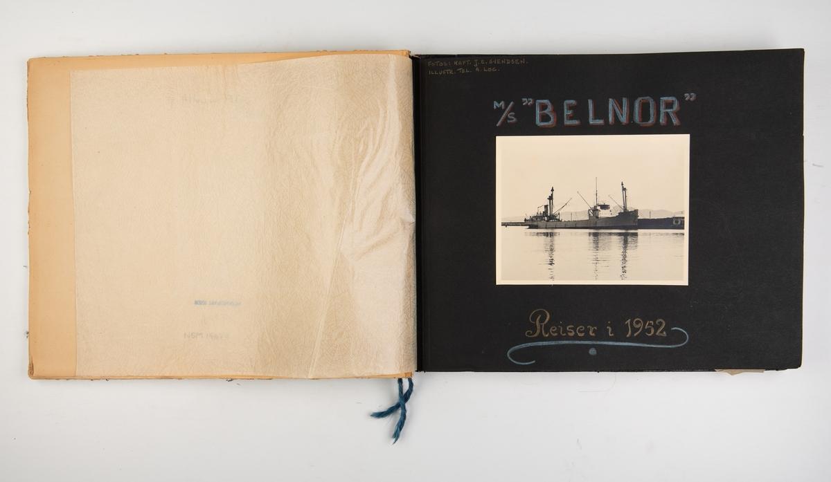 Album med fotografier av reiser med M/S 'Belnor' i 1952