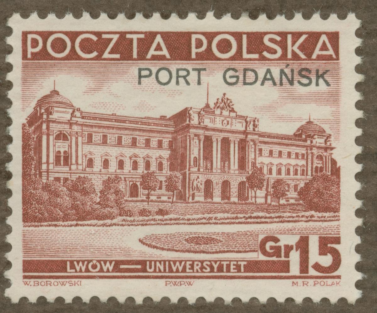 Frimärke ur Gösta Bodmans filatelistiska motivsamling, påbörjad 1950. Frimärke från Polen, 1937. Motiv av Universitetsbyggnaden i Lwow.