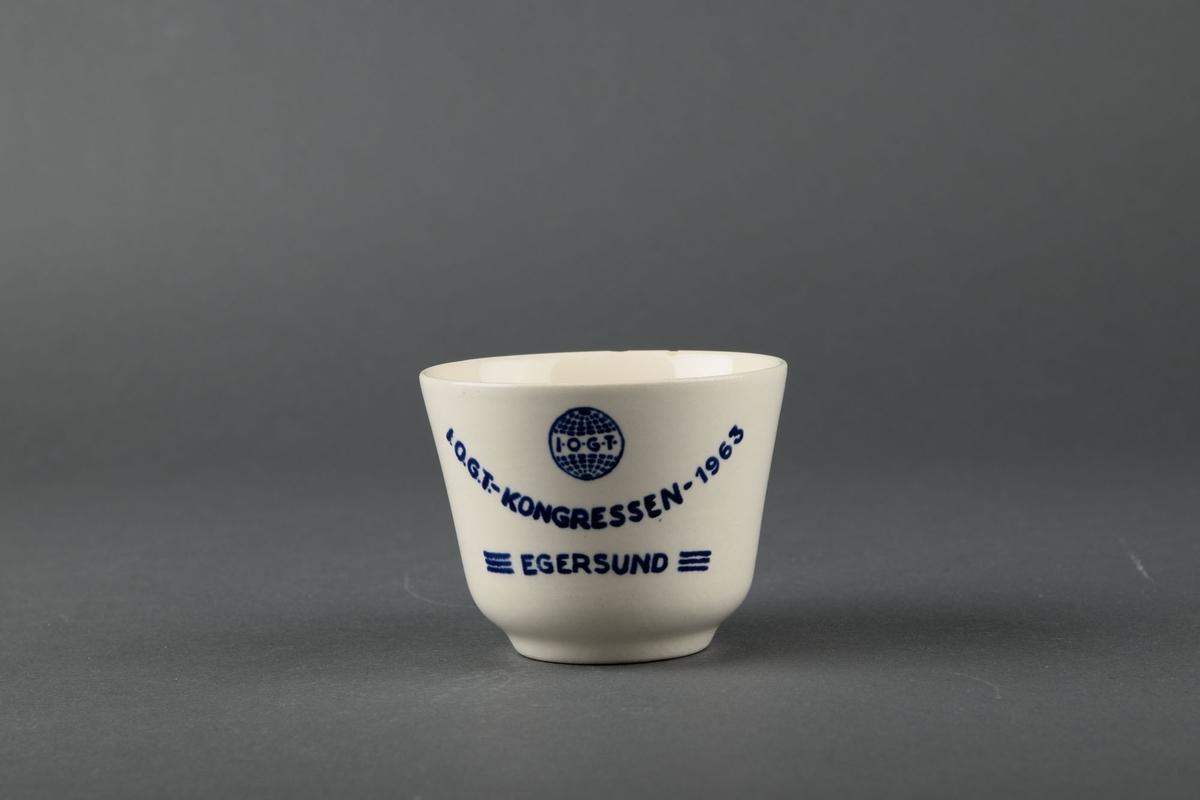 Produsert av Egersunds Fayancefabrik til IOGT-kongressen i Egersund i 1963.