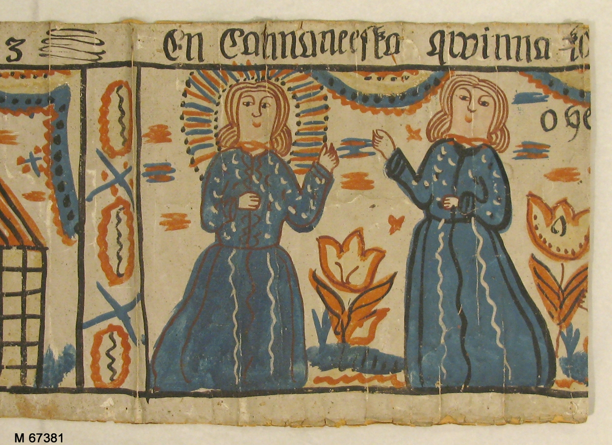 Bonadsmålning av okänd konstnär från Sunnerbogruppen, målad i tempera på papper. Bildscener från Kristi födelse och liv. Tidigare helt upplimmad på grövre papper.