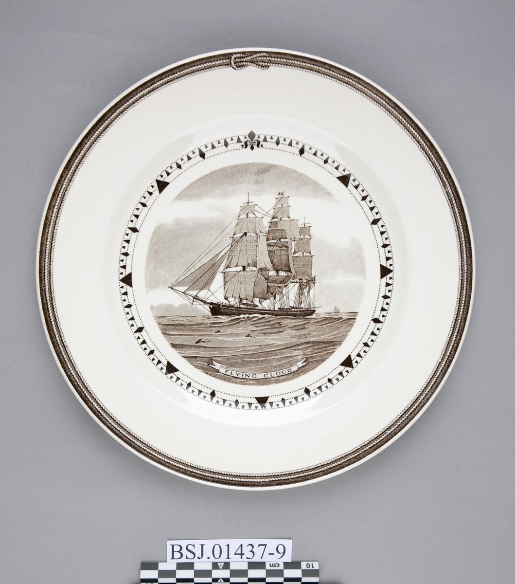 Tallerken med motiv av FLYING CLOUD, amerikansk klipper skip