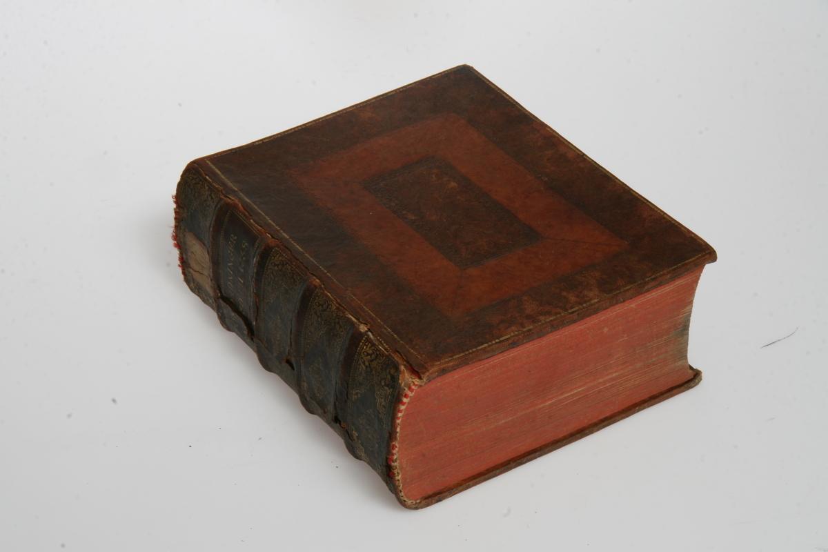 """Innbundet i skinn med gulltrykk og pressede ornamenter. """"Kong Christian den Siettes allernaadigste Forordninger og Aabne Breve"""" 1730-1738. København u.å."""
