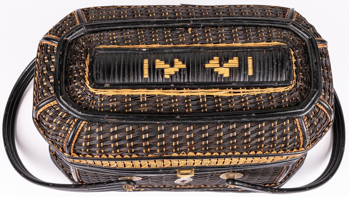 Korg av rotting, svart och gulbrun med lock och 2 stycken handtag. Handtagsfästen i mässing med siffror och mässingslås.