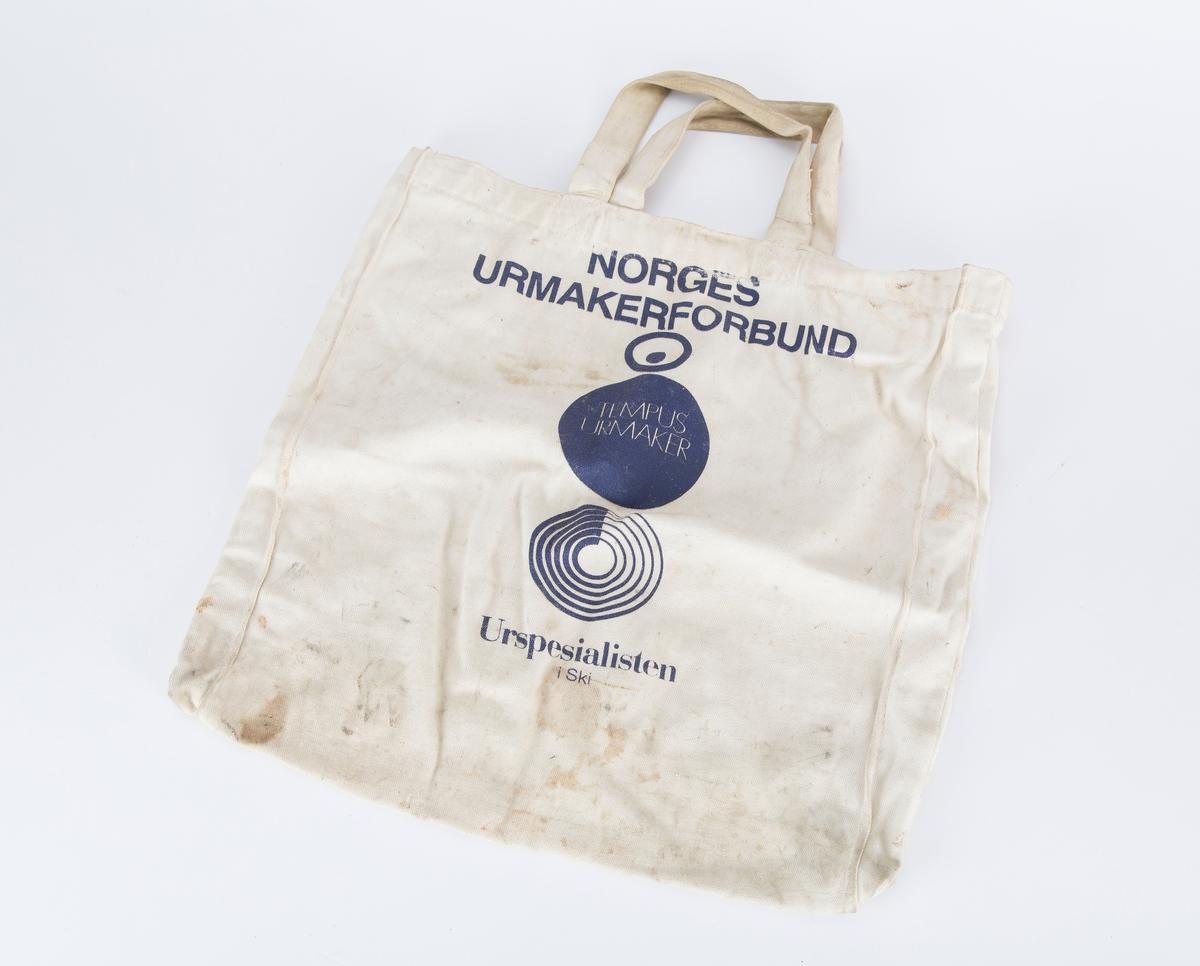 Logo fra Norges urmakerforbund: 2 sirkler ovenpå hverandre samt logo fra urspesialisten, sirkel