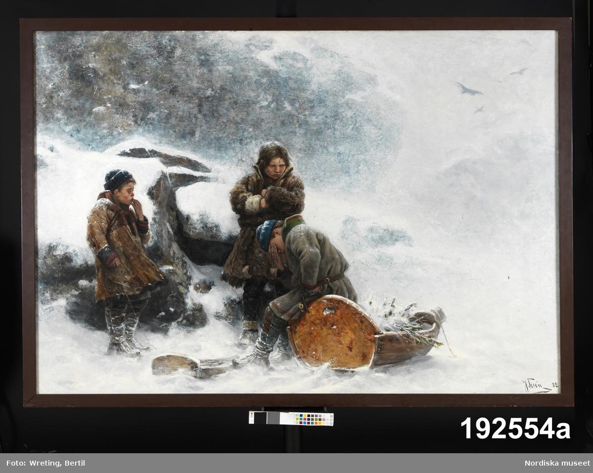 """Text från utställningen -""""Arktis – Medan isen smälter"""" 2019:  """"Tavla """"De vilsegångna"""" Oljemålningen är gjord av Johan Tirén (1853–1911). Även om målningen är gjord under en studieresa i Europa 1882 speglar den Tiréns stora intresse för den samiska kulturen och för samernas levnadsvillkor. Tirén engagerade sig för samernas rättigheter. Hans målning """"Lappar tillvaratager skjutna renar"""" (1892) sågs som ett inlägg i debatten om motsättningarna mellan samer och brukspatronen Farup på Ljusnedals bruk i Härjedalen."""""""