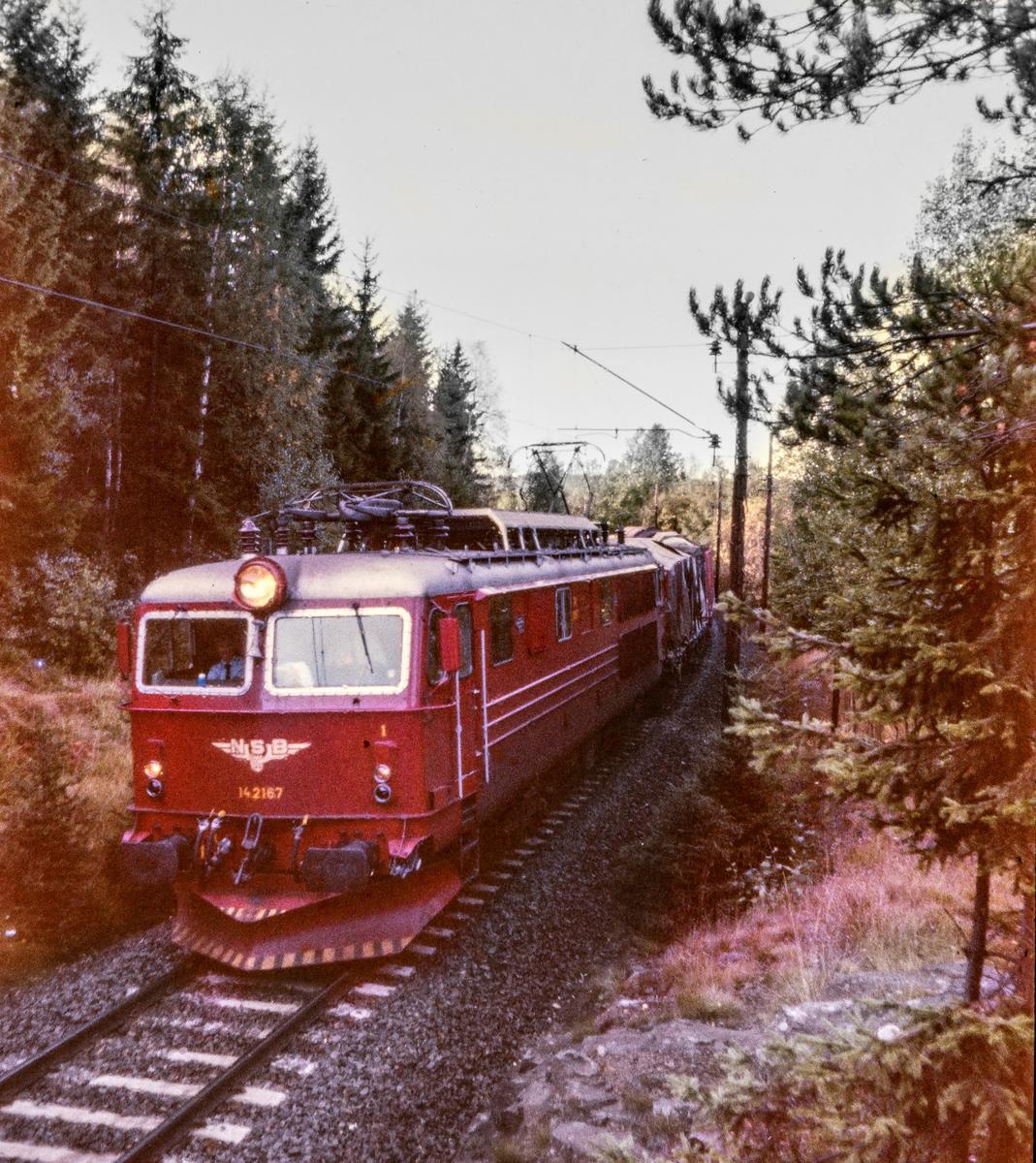Elektrisk lokomotiv El 14  2167 med godstog mellom Kjelsås og Sandermosen
