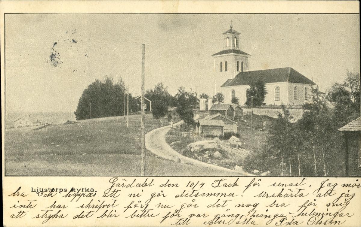 Vykort med motiv över kyrkan i Ljustorp.