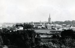 Halmstad på 1890-talet. Vy taget från torntrapporna på Galg