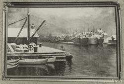 Maleri av smedasundet sett mot sydvest, ca. 1890.