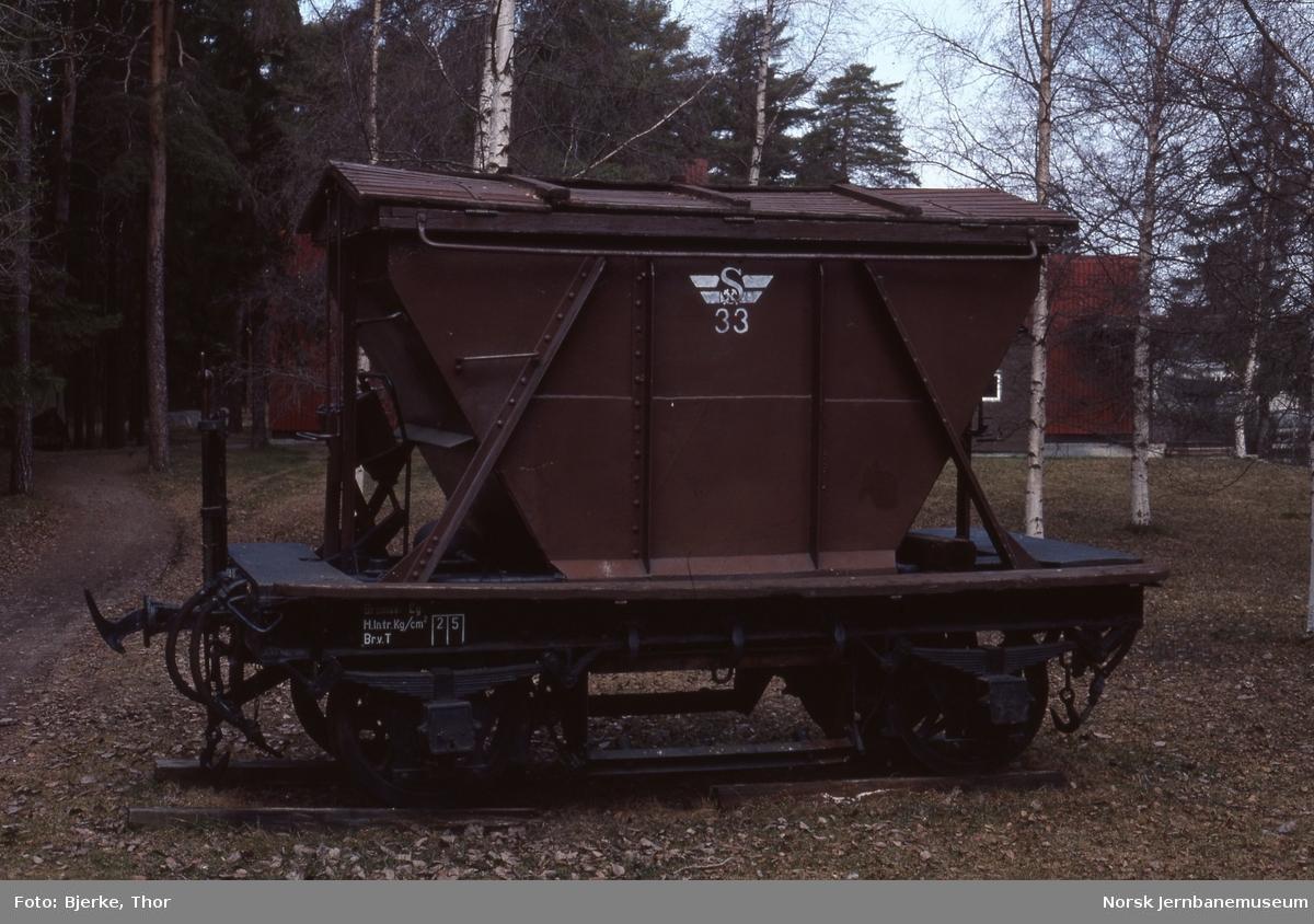 Sulitjelmabanens godsvogn litra Ø nr. 33 utstilt på Norsk Jernbanemuseum