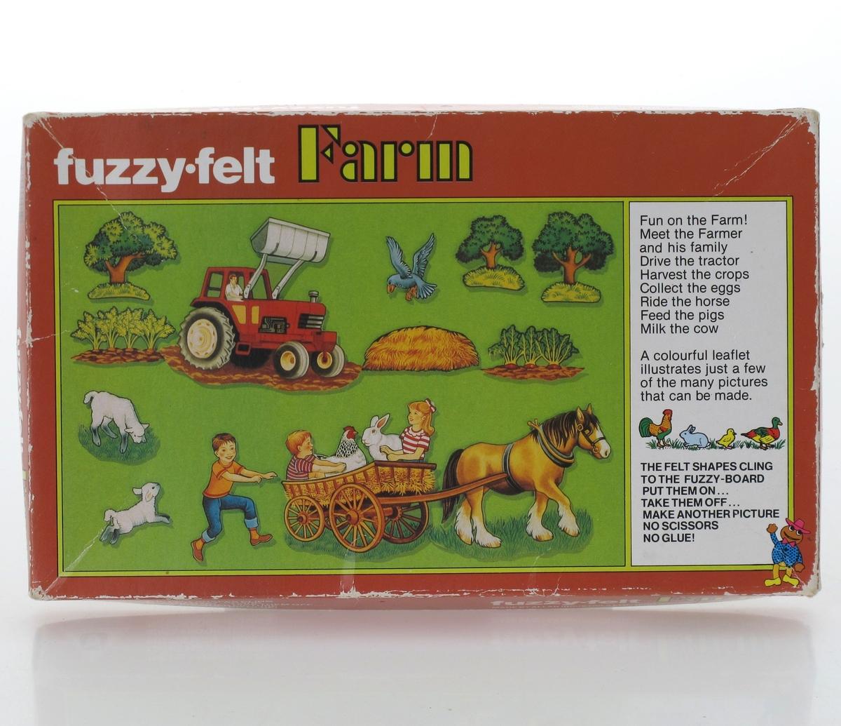 På lokket: traktor, trær, grønnsaker, sauer hest og vogn, barn og dyr sitter i vogna.