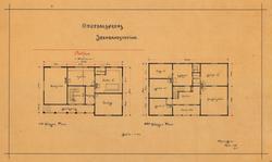 Orkedalsørens jernbanestasjon, plan 1. og 2. etasje. [Tegnin