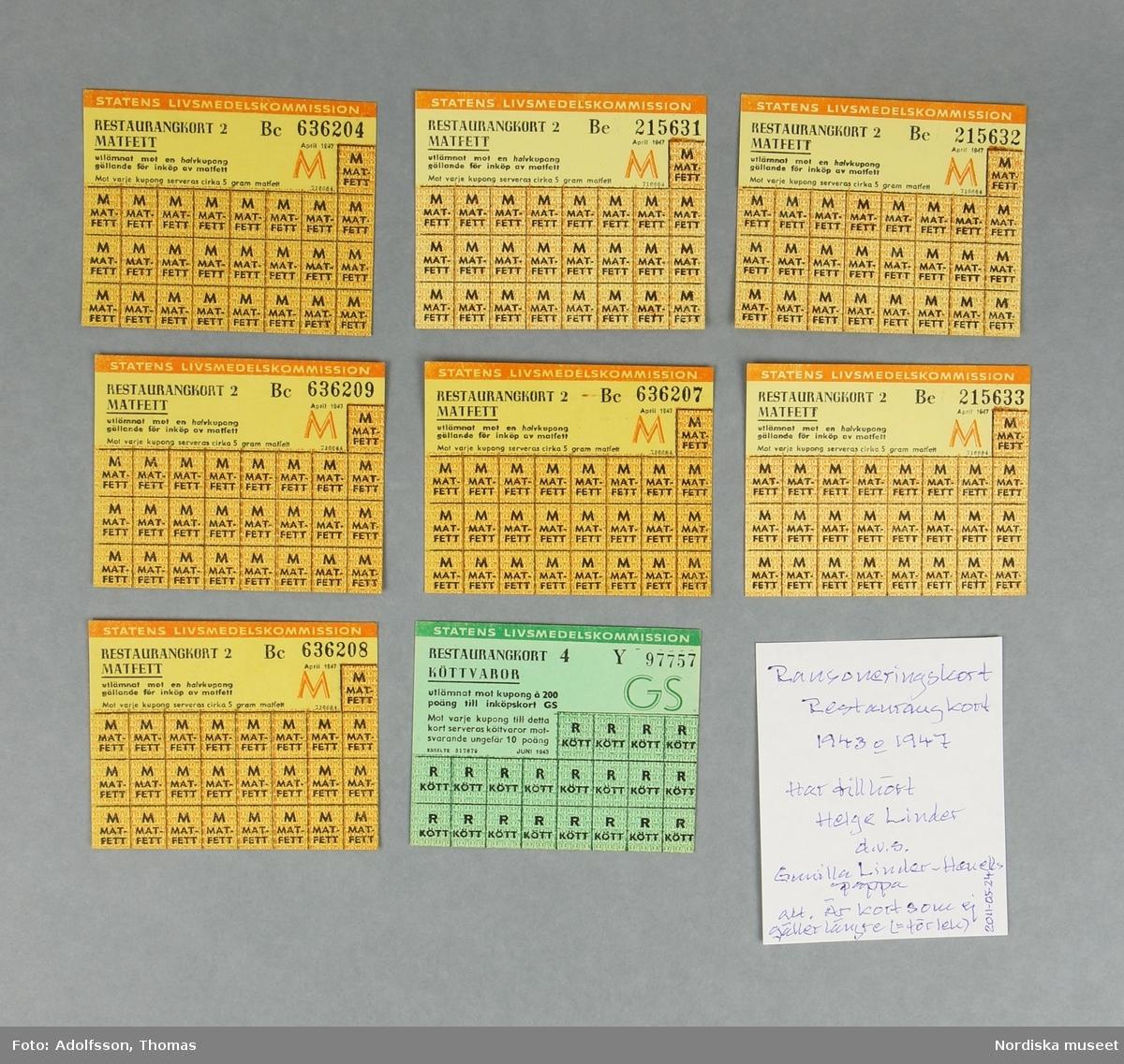 a) Plånbok av papp med spiralrygg av metall, för förvaring av ransoneringskort. I plånboken ligger b:1-51) 51 kort eller delar av ransoneringkort, c:1-7) 7 mindre fragment/rutor av ransoneringskort samt d:1-2) personkort och e) bilaga till personkort. Givaren har bifogat f:1-9) kortare beskrivning av de respektive korten. Beskrivningarna förvaras i plånboken. /Cecilia Hammarsten-Larsson 2019