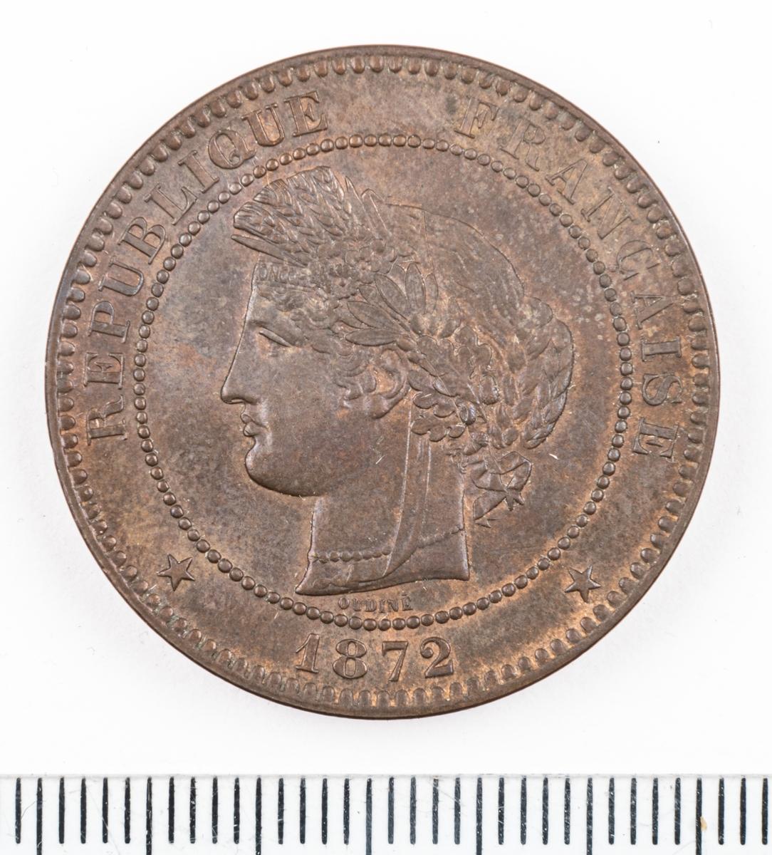 Mynt Frankrike 1872 10 Centimes.