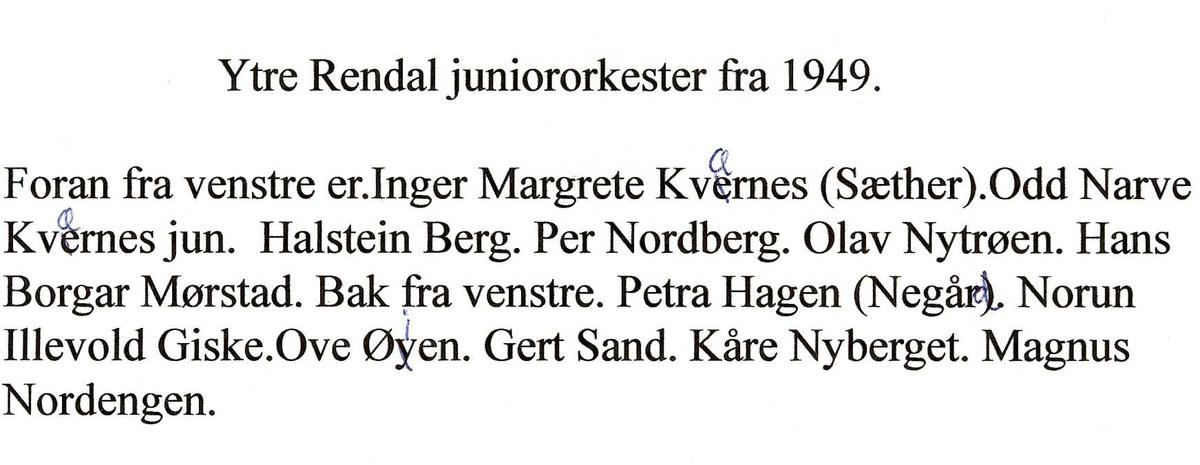 Yrre Rendal juniororkester fra 1949.