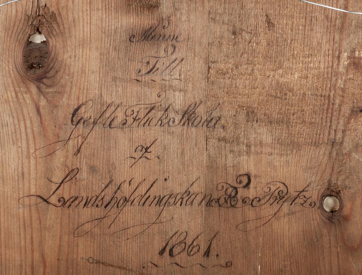 Litigafti: Christus am Ochlberg. På baksidan står textat: Minna till Gefle flickskola av Landshöfdingskan F. E. Prytz 1861.