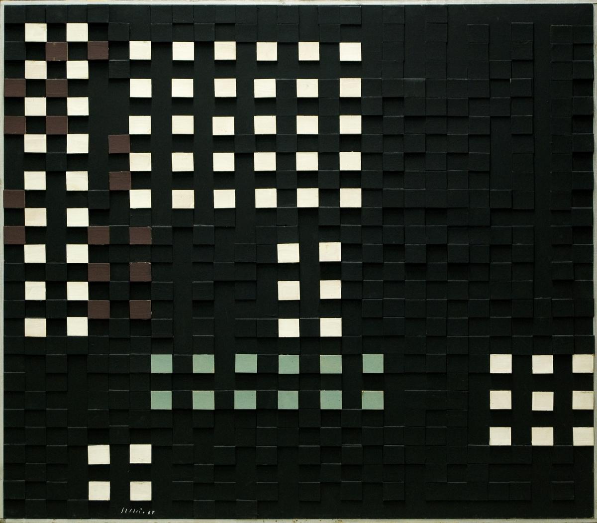 """Målning på pannå, """"Ljusrum 1"""" av Juho Suni. På pannå har klistrats kvadratiska pappbitar som målats i svart, vitt, grönt och brunt. Silverfärgad kantlist. (Kat.kort)"""