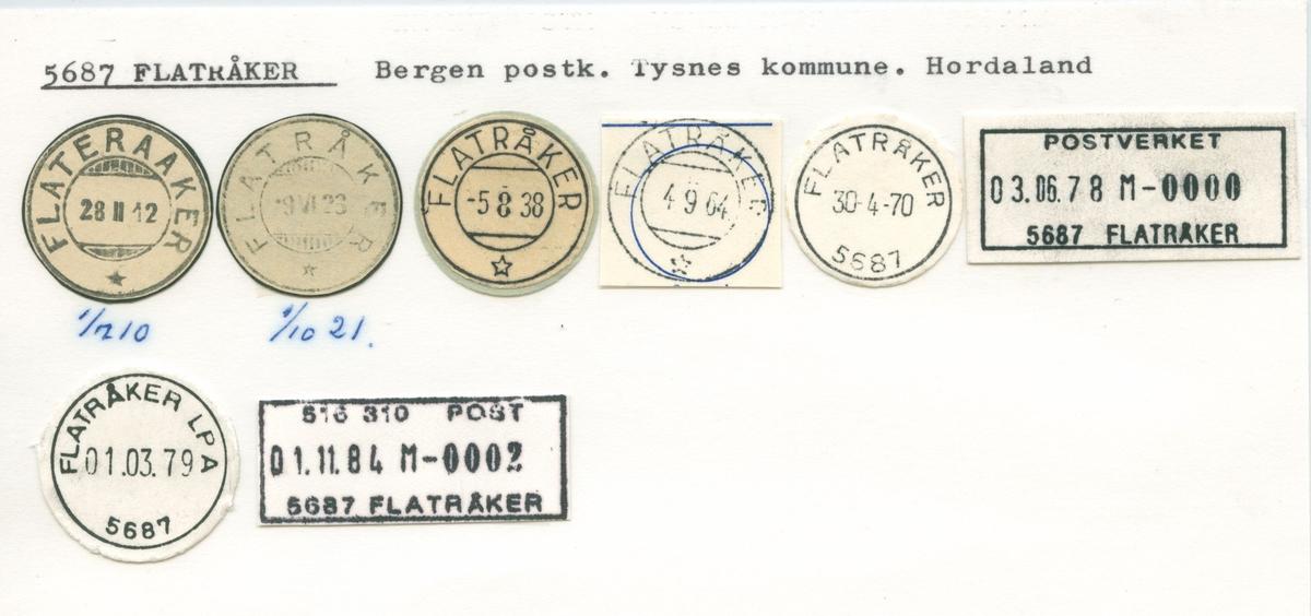 Stempelkatalog, Flatråker, Bergen, Tysnes kommune, Hordaland