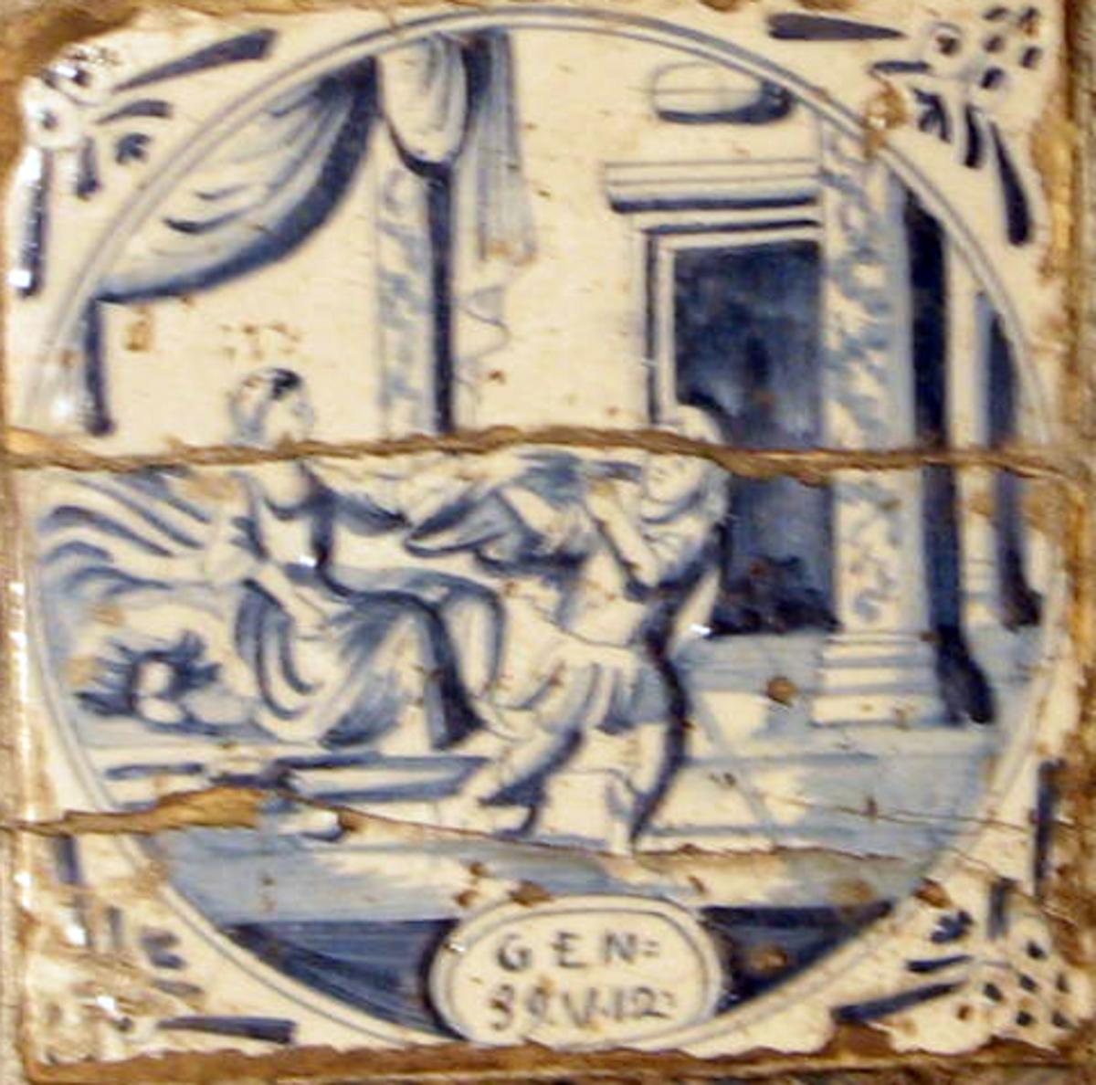 Kvadratisk,  Sirkelformet felt m. mann, kvinne, antikisert hus. Innfelt i klebersteinsovn.