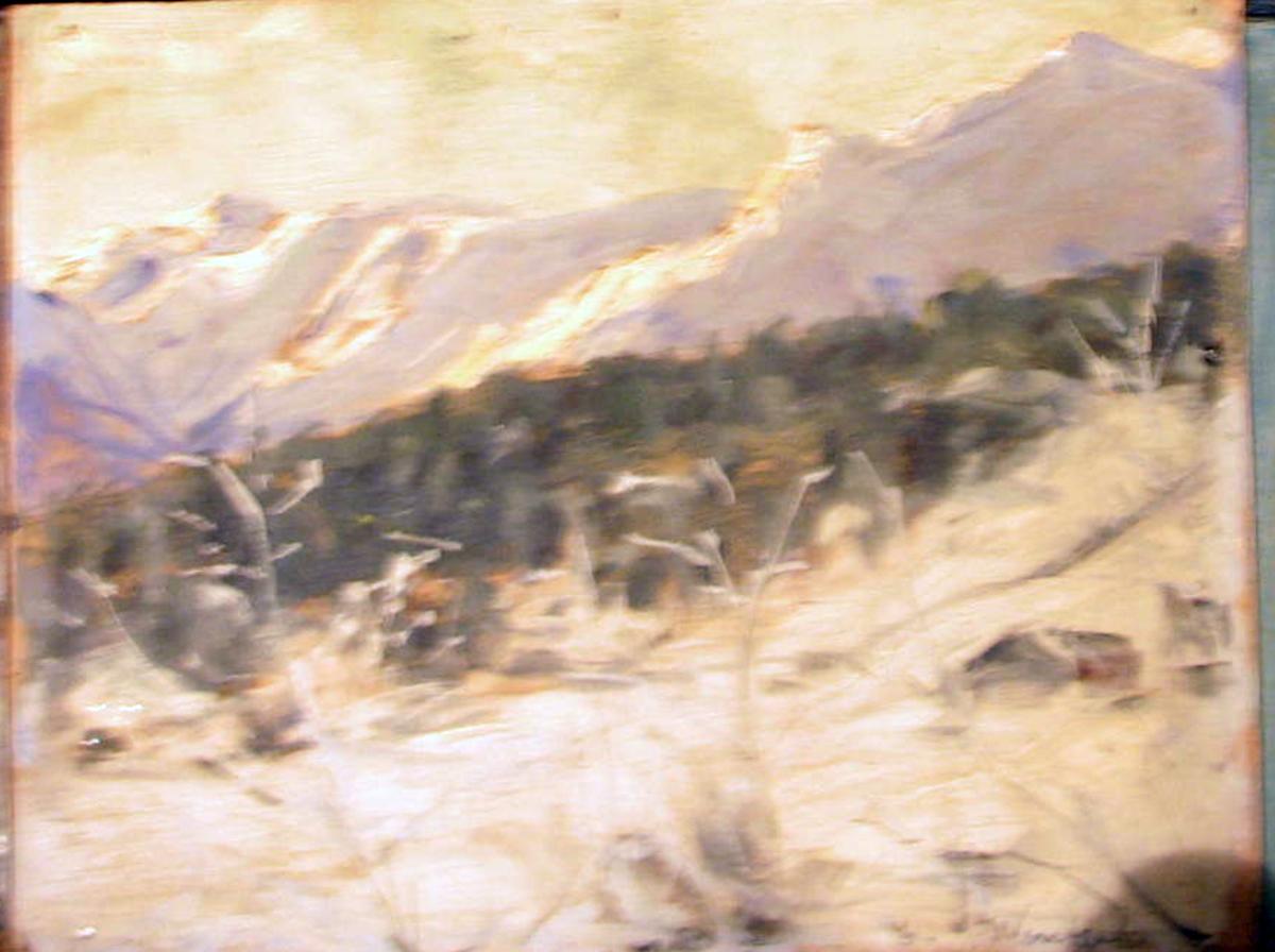Rektangulært. Snelandskap; i forgr. åpent, i mellomgr. skog, i bakgr. fjell m. sol.