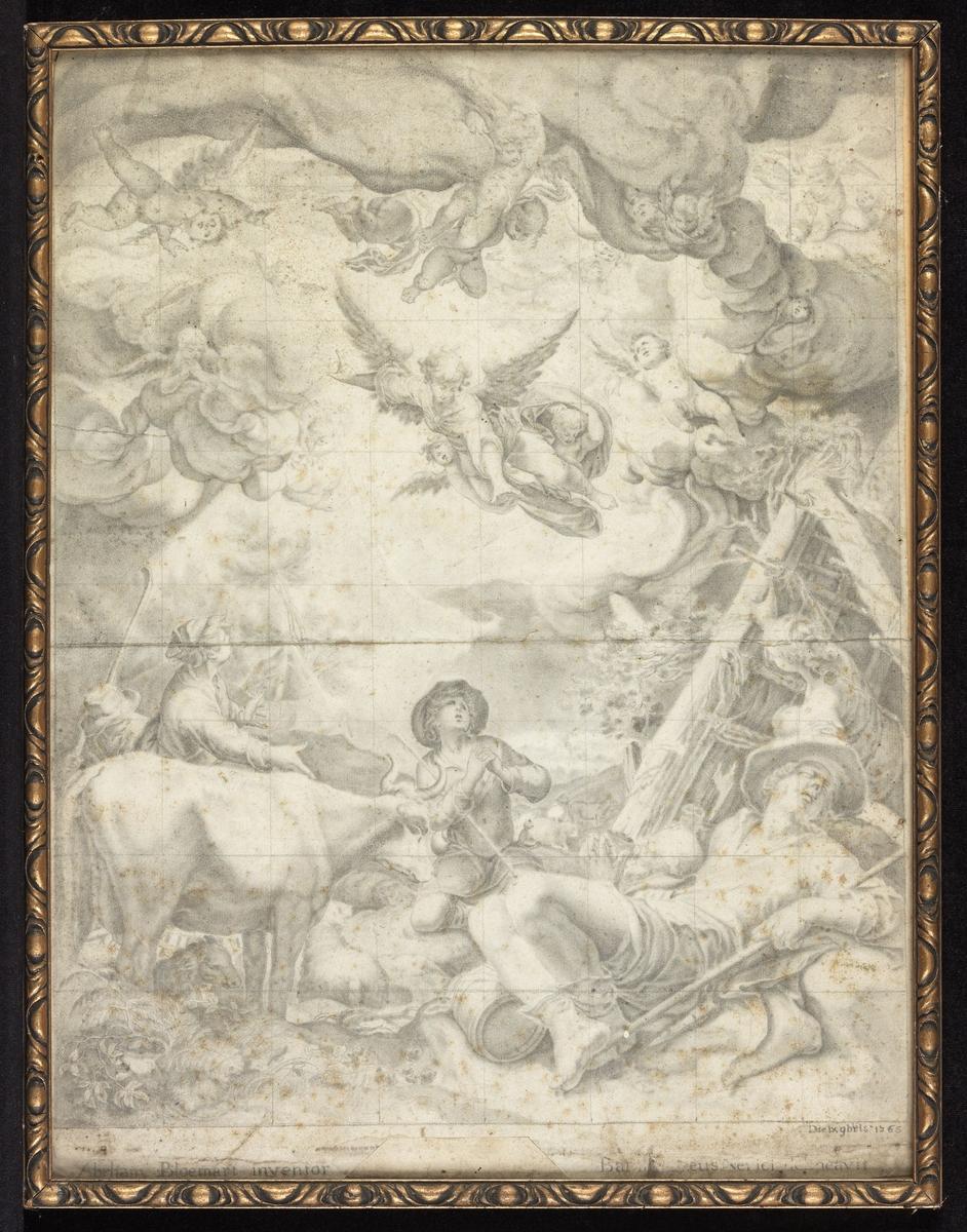 I forgr. liggende, sovende mann, ku, bak denne kvinne med utslåtte armer, knelende gutt, over svever engler. Opplysn. som 02668.