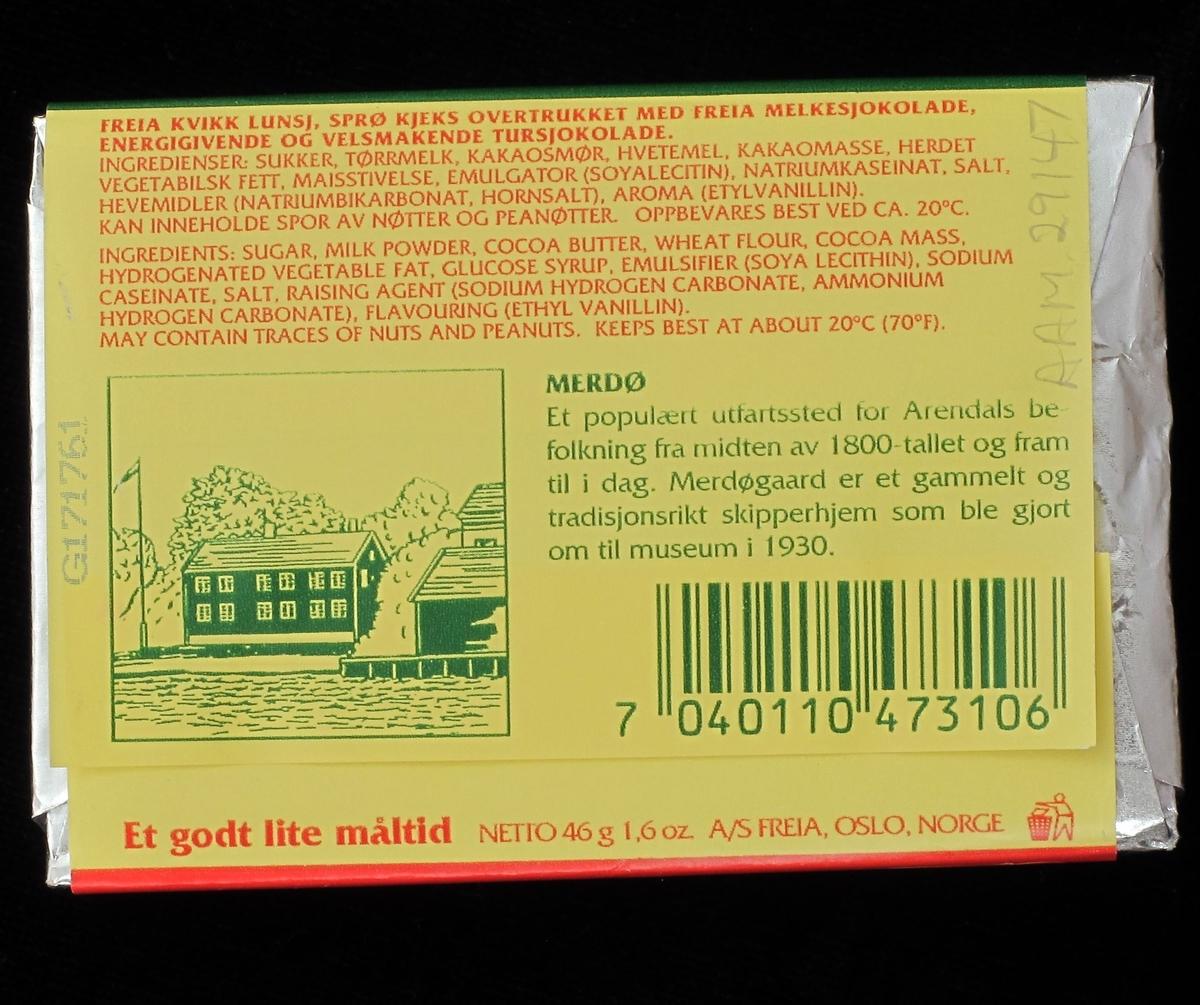 Tegning av Merdøgaard på emballasjens bakside.
